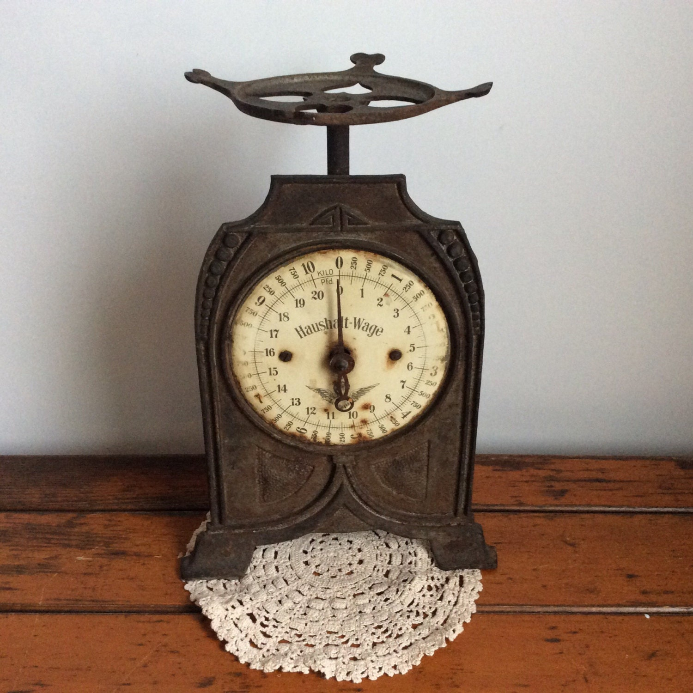 Antique Kitchen Scale: Antique Kitchen Scale Cast Iron Art Deco Nouveau German 10
