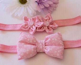 Pink Baby Headband, Floral Headband, Pink Flower Headband, Baby Bow Headband, Bow Headband, Flower Headband, Baby Headband, Girls Headbands
