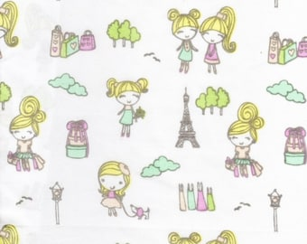 Cute Kawaii Girls Twin Flat Sheet Craft Fabric French Girlfriends Outdoor City Shopping in Paris France By Charles Street Kids Collection
