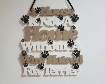 Wire Haired Fox Terrier wooden wall hanging/sign/plaque. Birthday gift/housewarming gift/home decor/dog decor. Dog accessories. Dog sign.