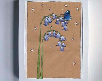 Bluebells 5x7'' digital print wall art illustration