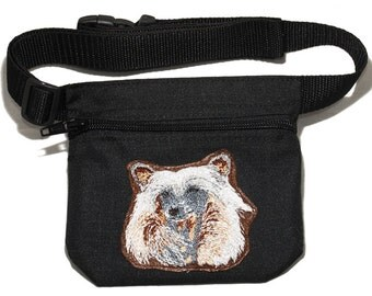 Embroidered dog treat waist bag. Breed - Chinese Crested. For dog shows and training. Great gift for breed lovers.