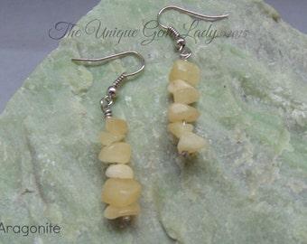 Aragonite Chip Bead Beaded Dangly Earrings Jewellery ~ Gemstone Crystal Healing ~ Handmade