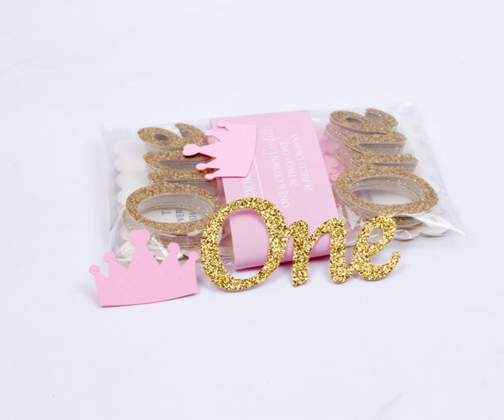 Pink And Gold ONE Confetti First Birthday Gold Glittered Confetti and Pink Crowns. 48CT