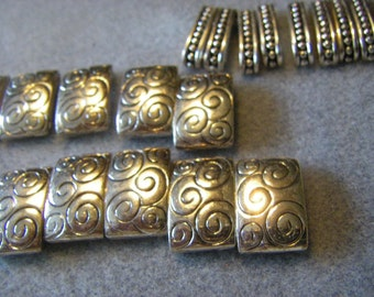 """22 pcs. silver tone spacer beads .75"""" wide  ...2 different sizes/designs ( 11 per)"""