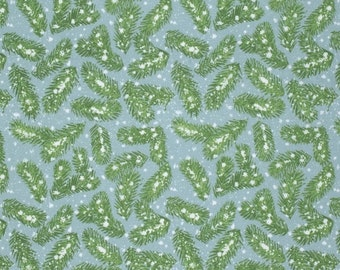 Pine Branches in Frost, Winter Miracle Collection by Marjolein Bastin for Free Spirit Fabrics 4205