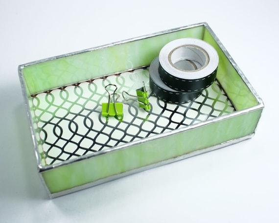 Green small glass tray desk organizer box by balsamrootglass - Glass desk organizer ...