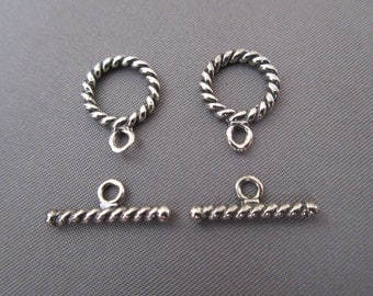 Two (2) 12.6 MM Twisted Rope .925 Sterling Silver Toggle Clasps