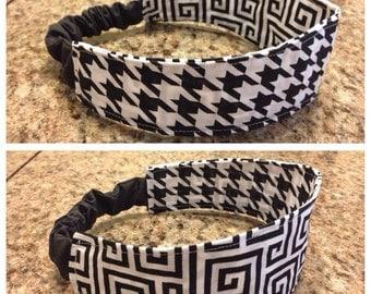 Adult black and white houndstooth/greek key fabric reversible headband/hairband/hair accessory