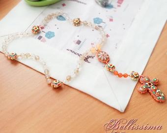 Handmade rosary in polymer clay - Orange Flower