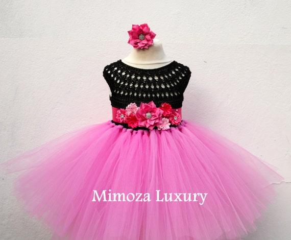 Black Pink Flower girl dress, hot pink  tutu dress, birthday dress, princess dress, pink crochet top tulle dress, black pink tutu dress