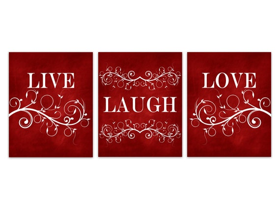 live laugh love red wall art burgundy home decor bathroom. Black Bedroom Furniture Sets. Home Design Ideas