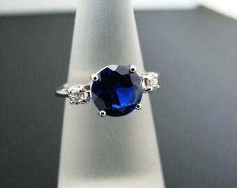 Beautiful Dark Blue Stone Ring in 14k White Gold with 2 Diamonds