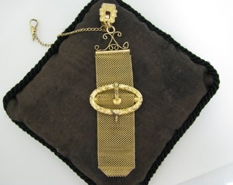 Vintage Pocket Watch Chain and Mesh Fob with Buckle