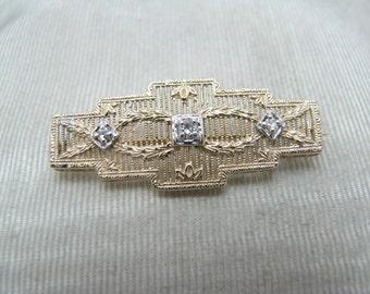 Beautiful Vintage 14k Yellow Gold Rectangle Diamond Brooch