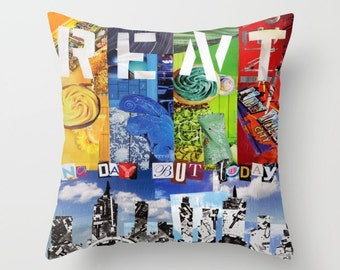Rent the musical, Rent Musical, Pillow COVERS 16 x 16, 18 x 18, 20 x 20, Bohemian decor, Decorative Pillows for Couch, No day like today