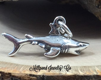 Shark Charm, Sterling Silver Shark Charm, Sea Life Charm, Beach Charm, PS3186