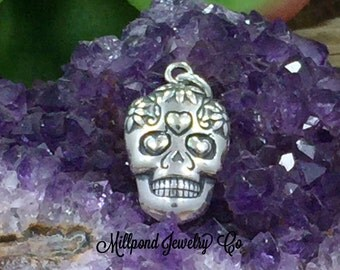Sugar Skull Pendant, Sugar Skull Charm, Mexican Sugar Skull Charm, Sterling Silver Sugar Skull Charm, Sterling Silver