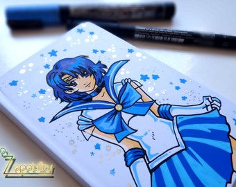 Sailor Moon custom handpainted notebook  A6 size