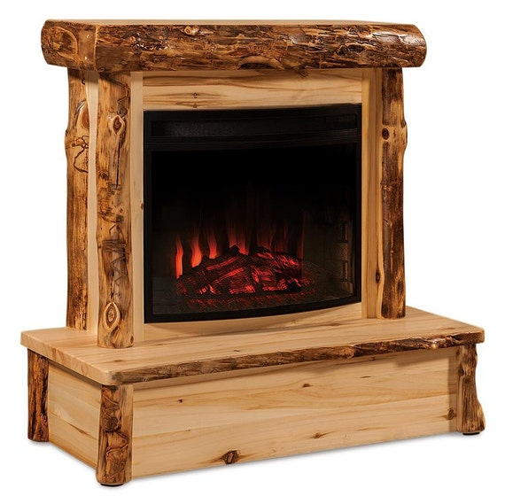 Rustic Fireplaces: Rustic Log Fireplace With Mantel