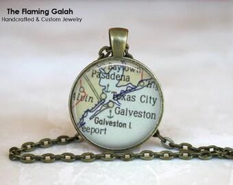 GALVESTON Map Pendant • Vintage Galveston Map • Vintage Texas Map • Map of Galveston • Gift Under 20 • Made in Australia (P0490)