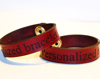 2x Personalized Couples Bracelets, His Her Bracelets, Best Friend bracelet, Custom Bracelet cuff,Anniversary Gift, red bracelets