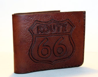ROUTE 66!Leather wallet with ROUTE 66, brown men's wallet, credit card wallet, gift for men, leather wallet with skull.