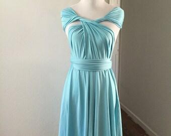 Aqua dress,Bridesmaid Dress , Infinity Dress,Knee Length Wrap Convertible Dress.Party dress-B32#
