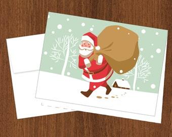 Traditional Santa Christmas Cards - 4bar