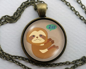 Custom Sloth Necklace, Glass Dome Pendant, Cute Animal Lover Gift, Round Art Cabochon Jewelry