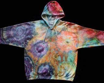 2XL Geodes Tie Dye Zip Up Hoodie