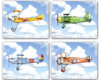 Airplane nursery decor Planes flying prints Vintage airplane flying in blue sky Aviation theme print Boys room wall art