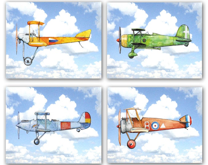 Airplane decor Airplanes in clouds Nursery prints Aircraft watercolor Vintage airplane flying in blue sky Aviation Boys nursery wall art