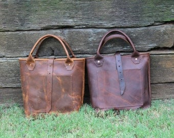 The Denver Junior Tote Bag, Rustic Leather Travel Bag, Daily Carry Tote, Made in USA, Distressed Leather Bag,  Interior Divider