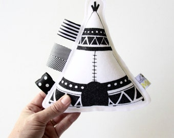 Tee Pee Baby Toy / Rattle / Hand Printed on Wool Felt