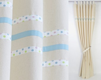 baby boy modern nursery cream cotton curtain panel with pastel polka dot and baby blue stripes