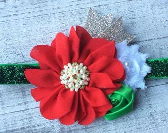 Red and Green Christmas Headband.   Baby's 1st Christmas Headband.