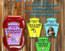 ON SALE 50% off-Sofia the First Condiment Labels-Sofia Polka dot Ketchup labels-Sophia the First-Party Favors-Sticker-Tags-Bottle Labels