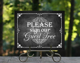 Please sign our Guest Tree, Printable Chalkboard Wedding Guest Tree Sign, Wedding Signage, Alternative Guest book, Guest Sign in, Guest Tree