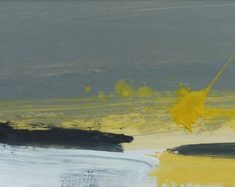 GREY YELLOW DAWN. Original Abstract Landscape Acrylic Painting.