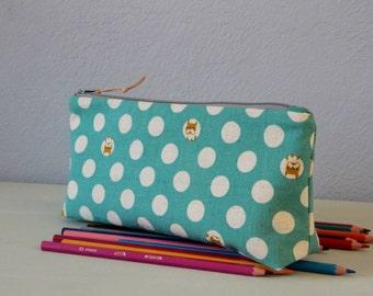 Lino para la escuela Kit, kit de herramientas guisantes, cubierta lápices color menta, maquillaje, guisantes, regalo niña Kit Escolar