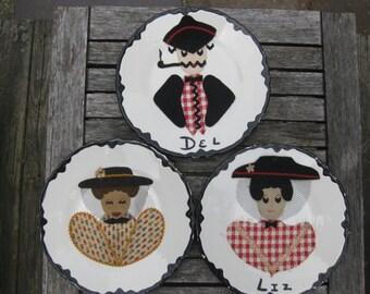 Vintage Felt Portrait Ceramic Plates Set of 3