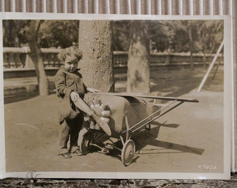 Studio Like Photo Little Boy with Airplane Circa 1920/30s Signed