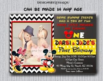 Mickey Minnie Mouse Twins Birthday Invitation, Twins Siblings Clubhouse Mickey Minnie Invitations, Invitations For Twins or Siblings