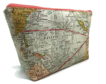 Extra Large Cosmetic Bag, Toiletry Bag, Travel Bag, Makeup Bag, Wet Bag, Waterproof Bag in Expedition Map