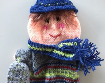 puppet with snowboard, hand knitted