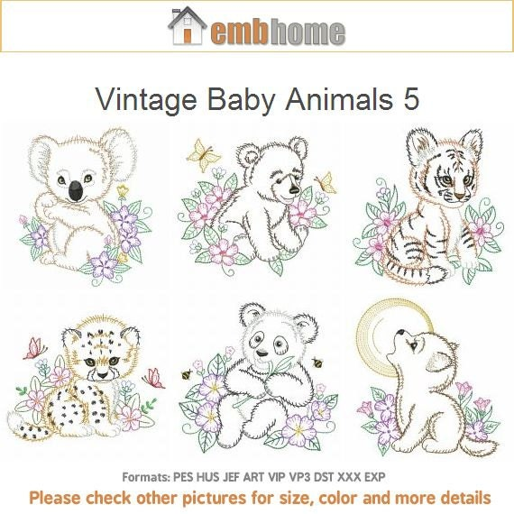 Vintage Baby Animals 5 Machine Embroidery Designs Pack