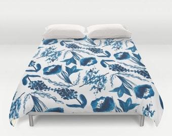 Modern Flowers Duvet Cover - Blue Floral Duvet Cover - Modern Decor - Full Queen King Size - Duvet Cover - Aldari Home