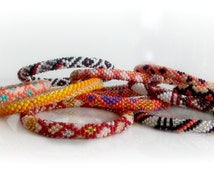 Nepal Roll On Bracelet Mini Grab Bag 5 PC Assortment- FIRE Theme- Glass Seed Bead Nepal Bracelet Bangle Jewelry- Handmade Wholesale Bracelet