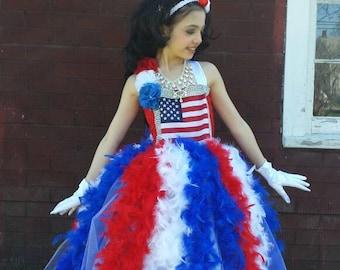 American flag ballgown,4th of July Tutu dress, patriotic pageant dress,feather tutu dress,National pageant dress,feather ballgown, pageant
